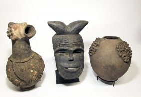 3 Mambila Artifacts, Mask And Pottery