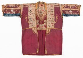 Antique Syrian Embroidered Robe W. Metal Thread
