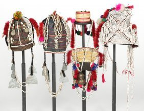 4 Old Tribal Akha Headdresses And 1 Necklace