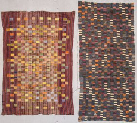 Two Large West African Ewe Cloths. Early/mid 20th C.