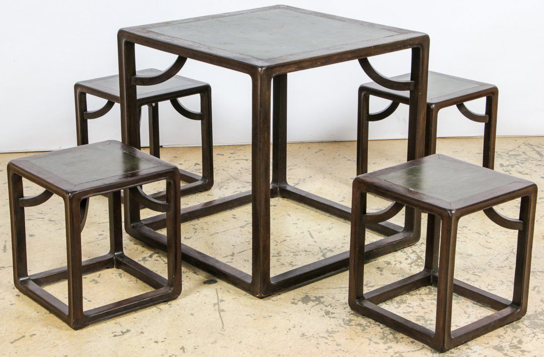 Chinese Stone Top Cube Table and 4 Stools