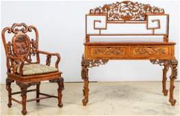 Fine Chinese Hardwood Desk and Chair