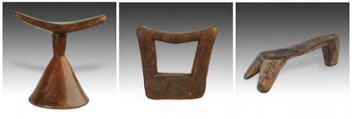 3 Antique Ethiopian Carved Wood Headrests