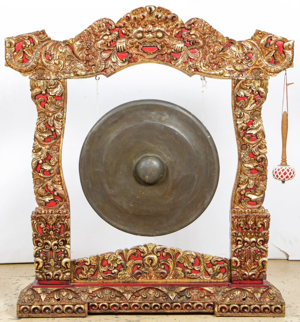 Vintage Balinese Gong on Intricately Carved Wood Stand