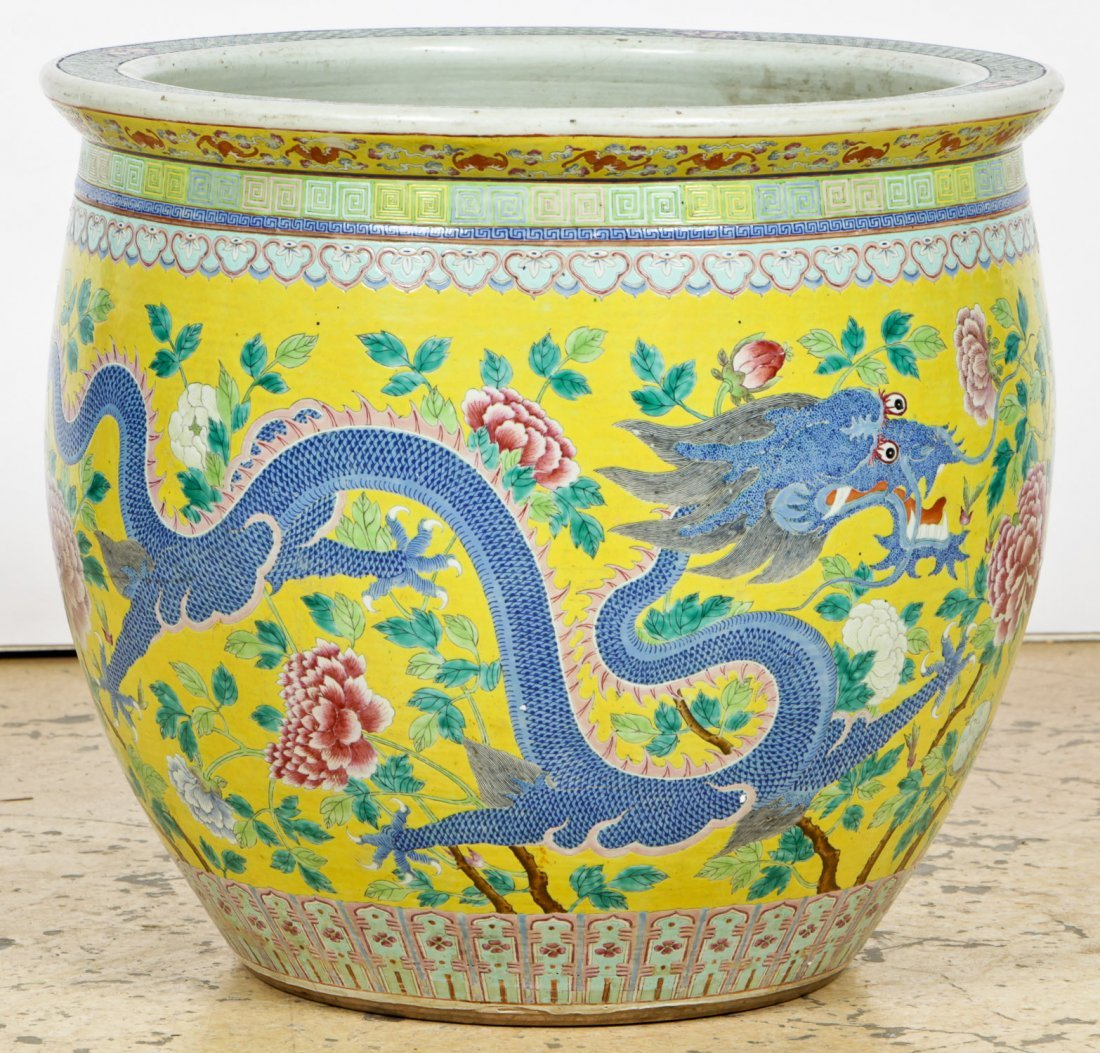 19th C Chinese Famille Jaune Imperial Jardiniere