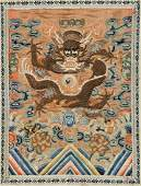 Antique Chinese Embroidered Dragon Panel