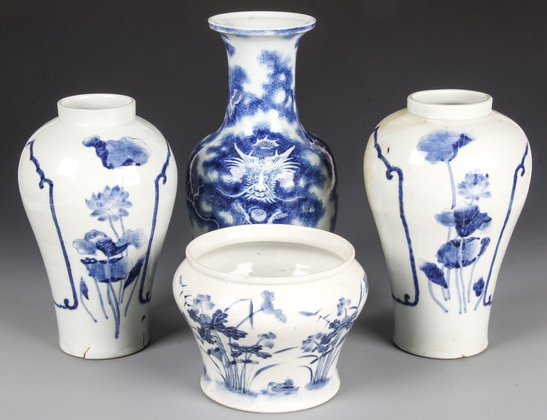 4 Chinese Export Blue and White Vases