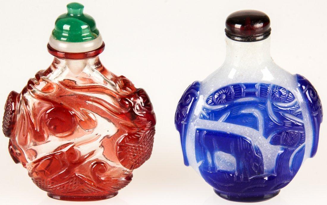 2 Chinese Peking Glass Snuff Bottles