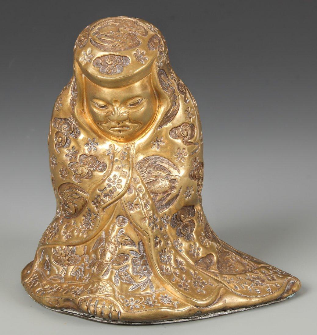 Late 18th C Chinese Qianlong Figural Bronze Bodhidharma