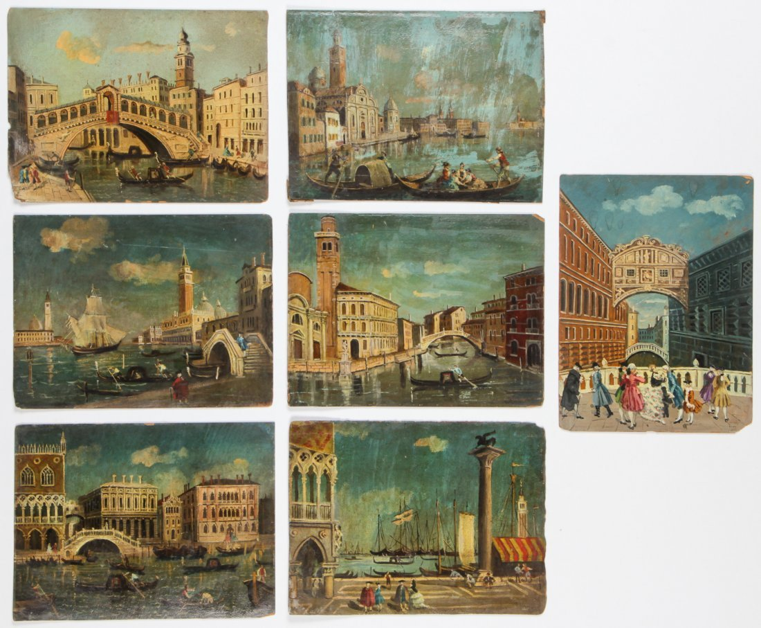 Italian School (20th C.) Group of 7 Paintings of Venice