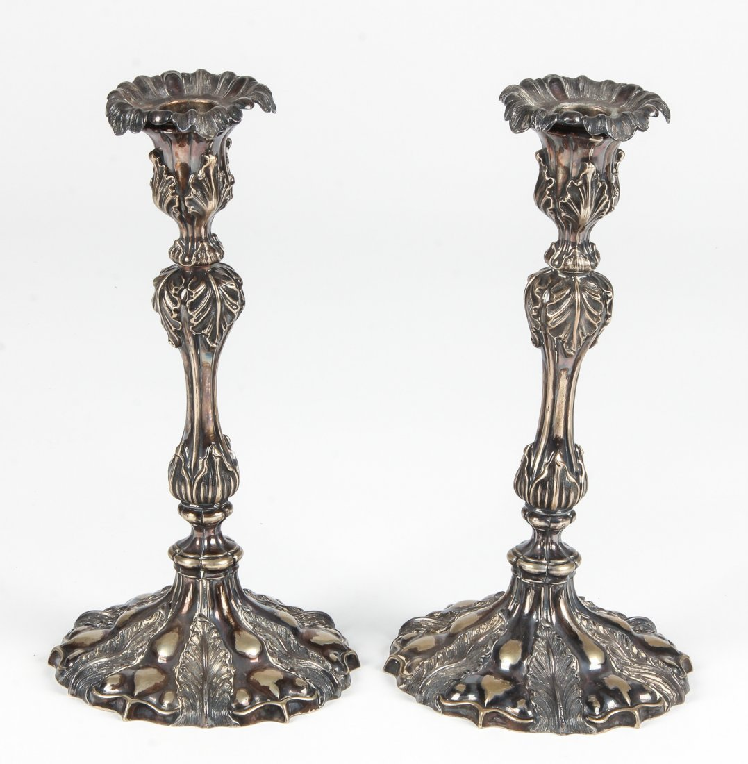 Pair Antique Sterling Silver Candle Sticks