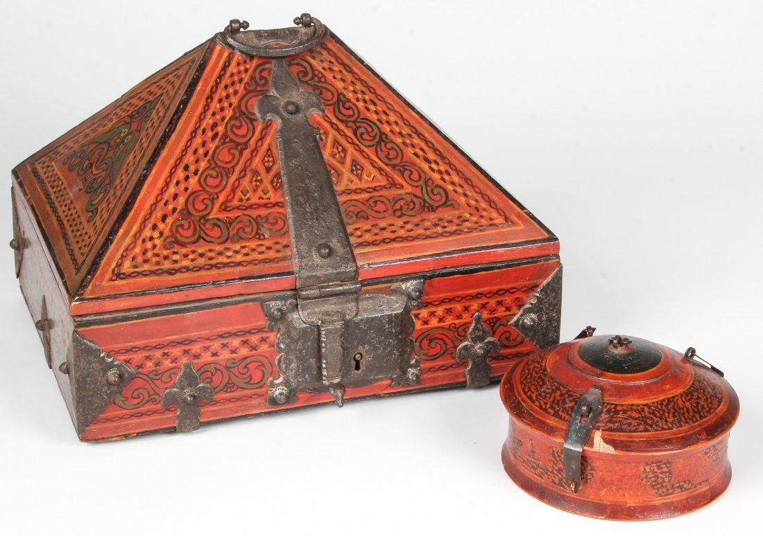 2 Lacquer Dowry Boxes