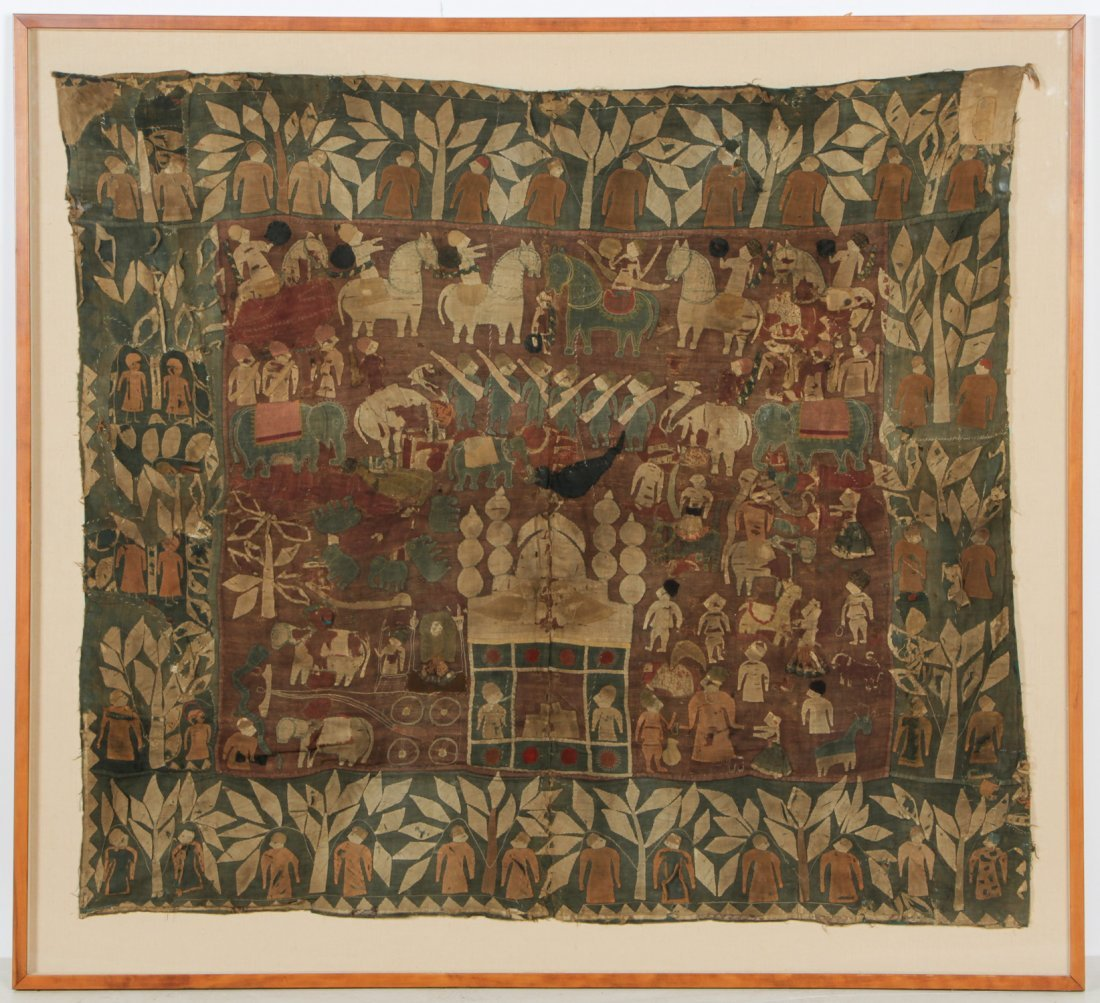 Antique Indian Mogul Narrative Tapestry