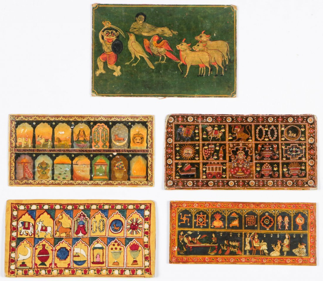 5 Old Indian/Jain Handmade & Embroidered Book Covers