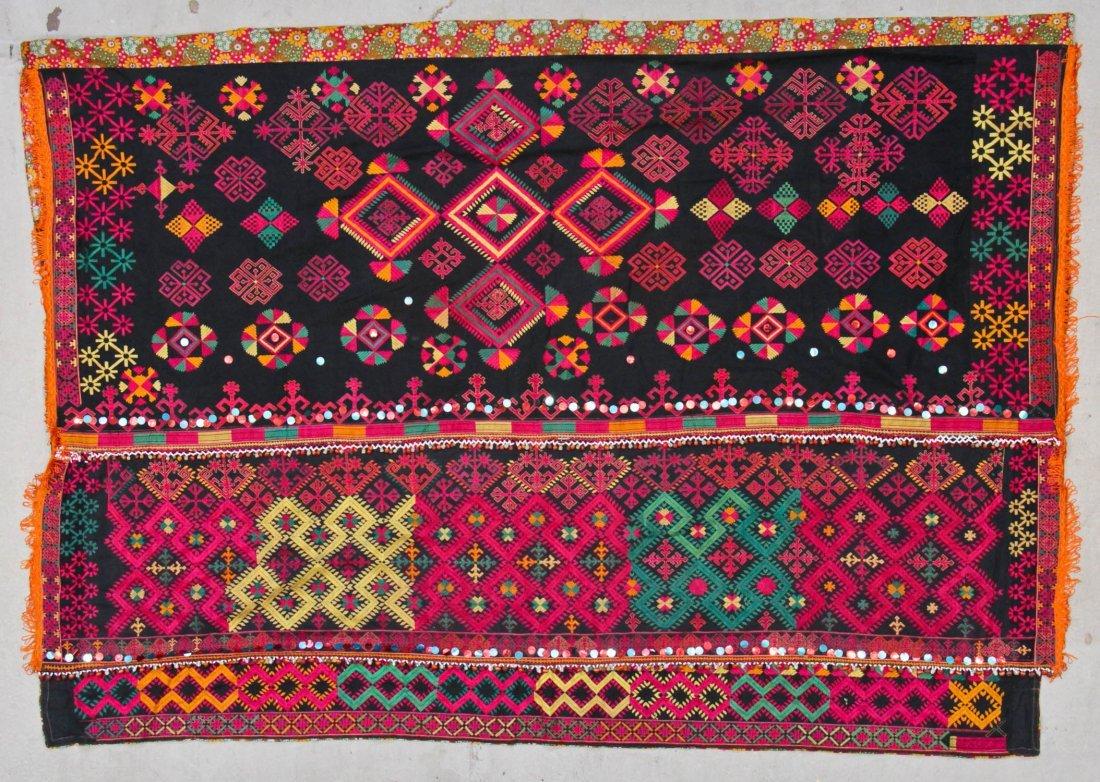 Large Old Embroidered Wedding Shawl, India/Pakistan