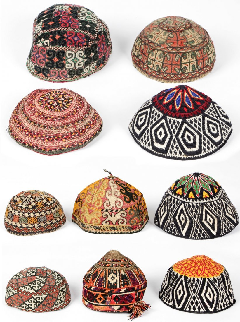 Collection of 10 Old Central Asian Hats