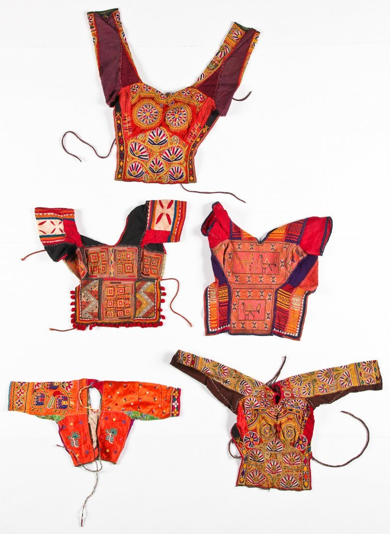 5 Old Finely Embroidered Indian Blouses/Choli