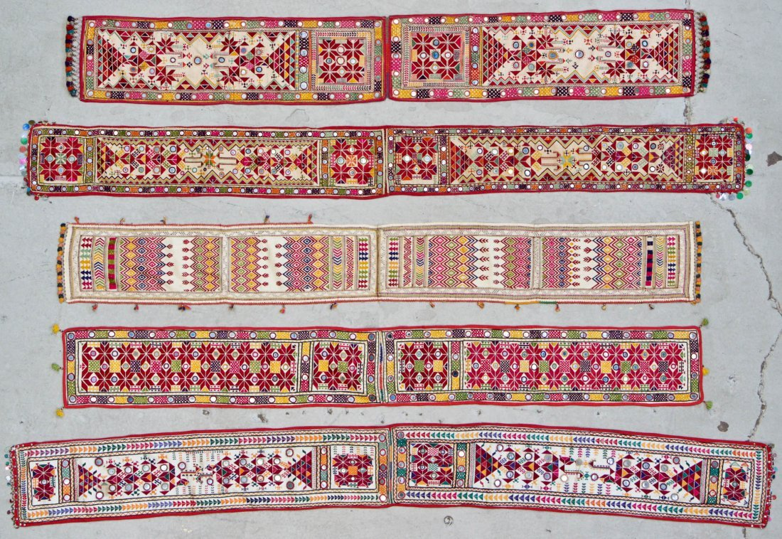 5 Old Finely Embroidered Textiles With Mirror Work
