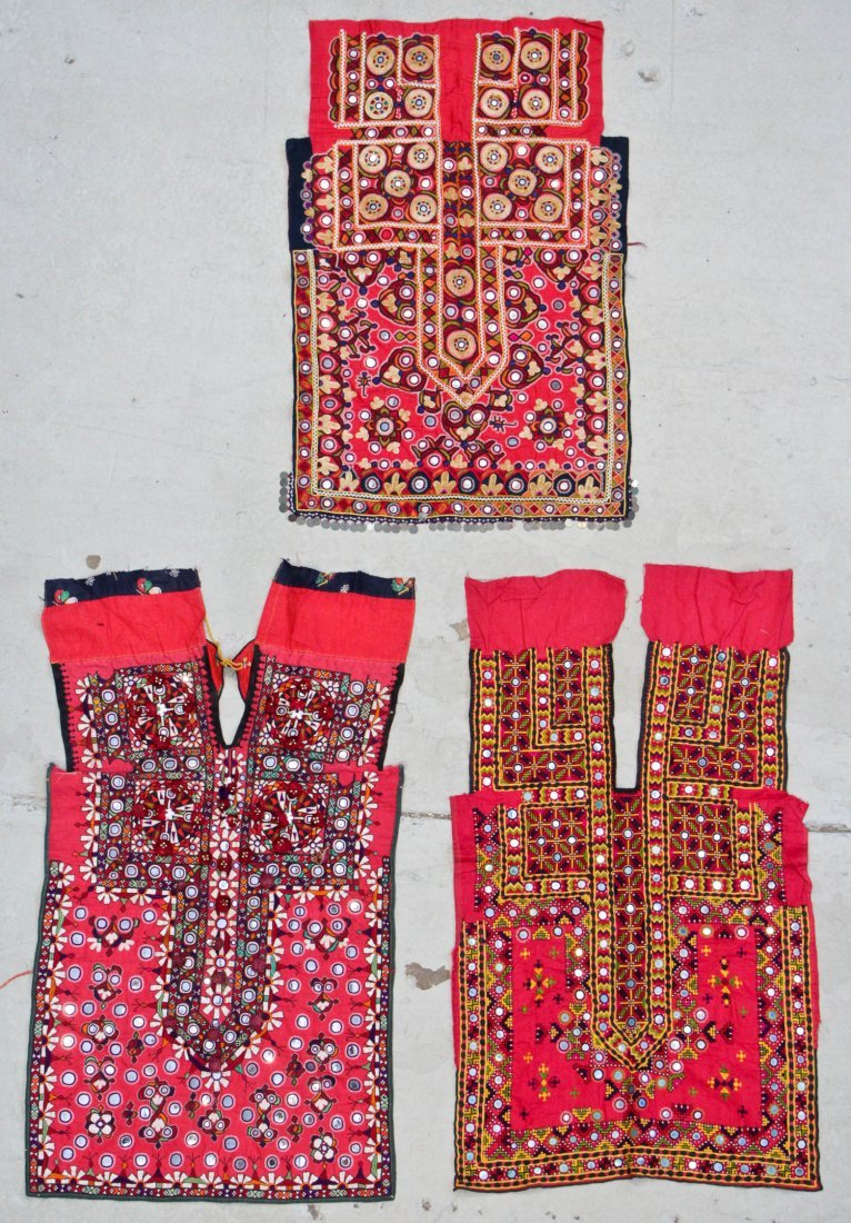3 Old Finely Embroidered Choli Fronts, Sind, Pakistan