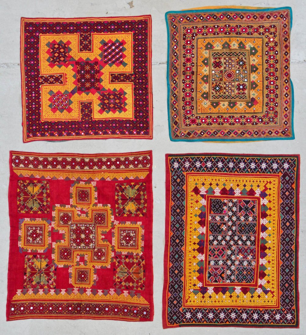 4 Old Finely Embroidered Textiles, Mehev People