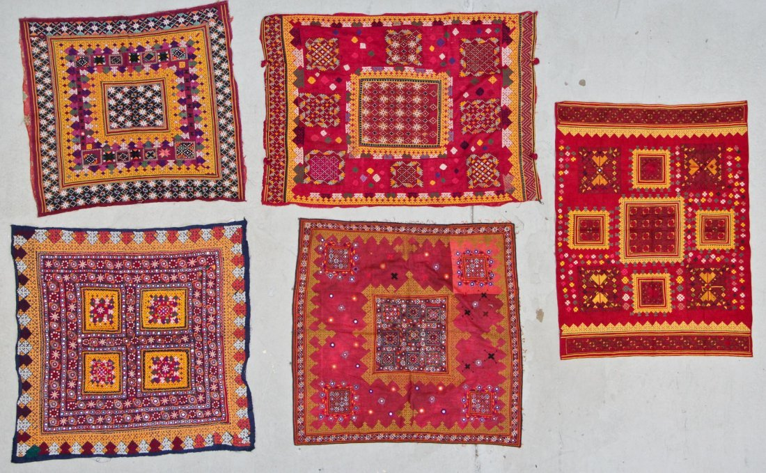 5 Old Finely Embroidered Textiles, Mehev People