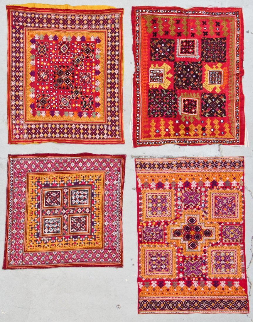 4 Old Finely Embroidered Textiles, Upper Sind