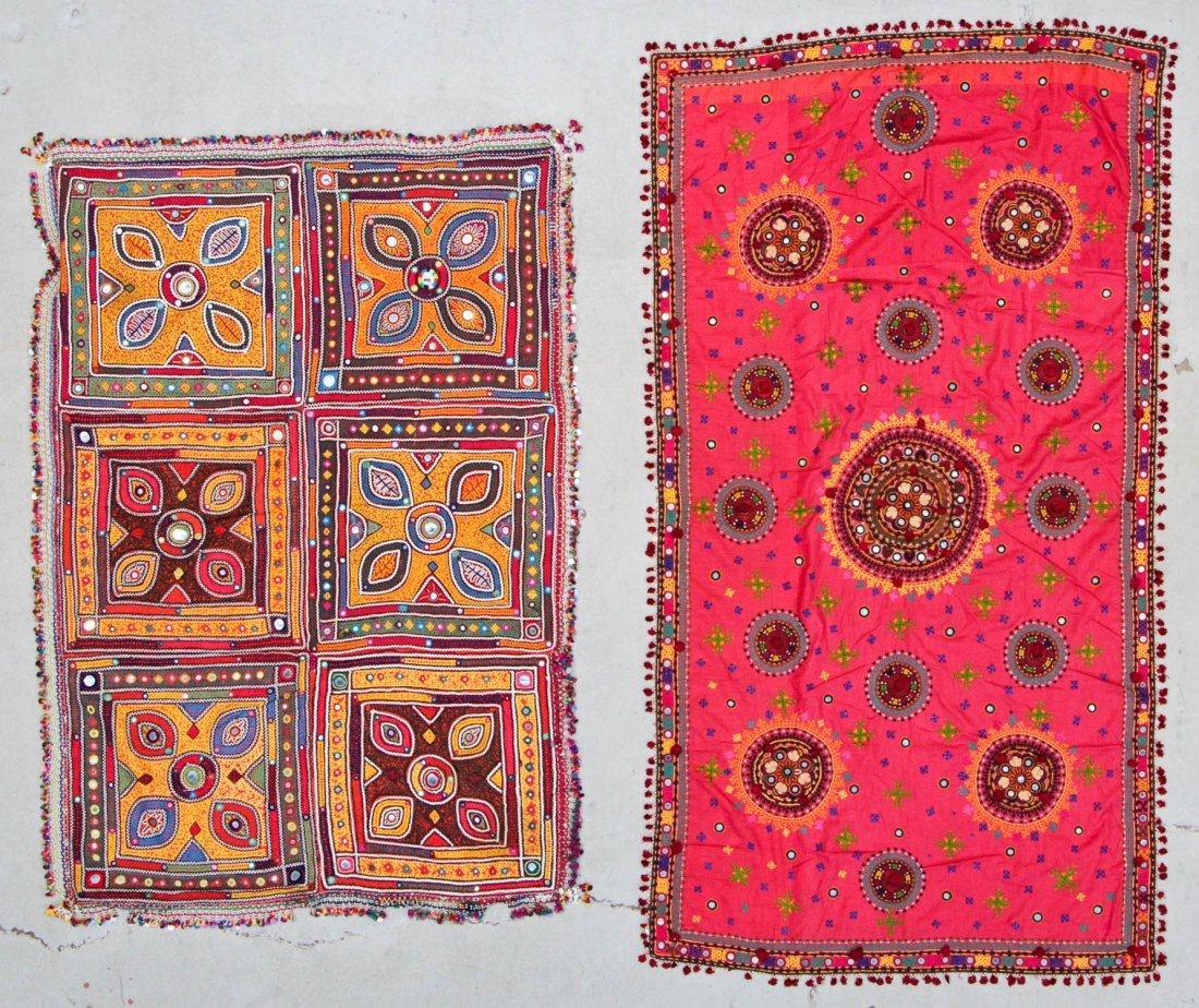 2 Finely Embroidered Textiles With Mirror Work