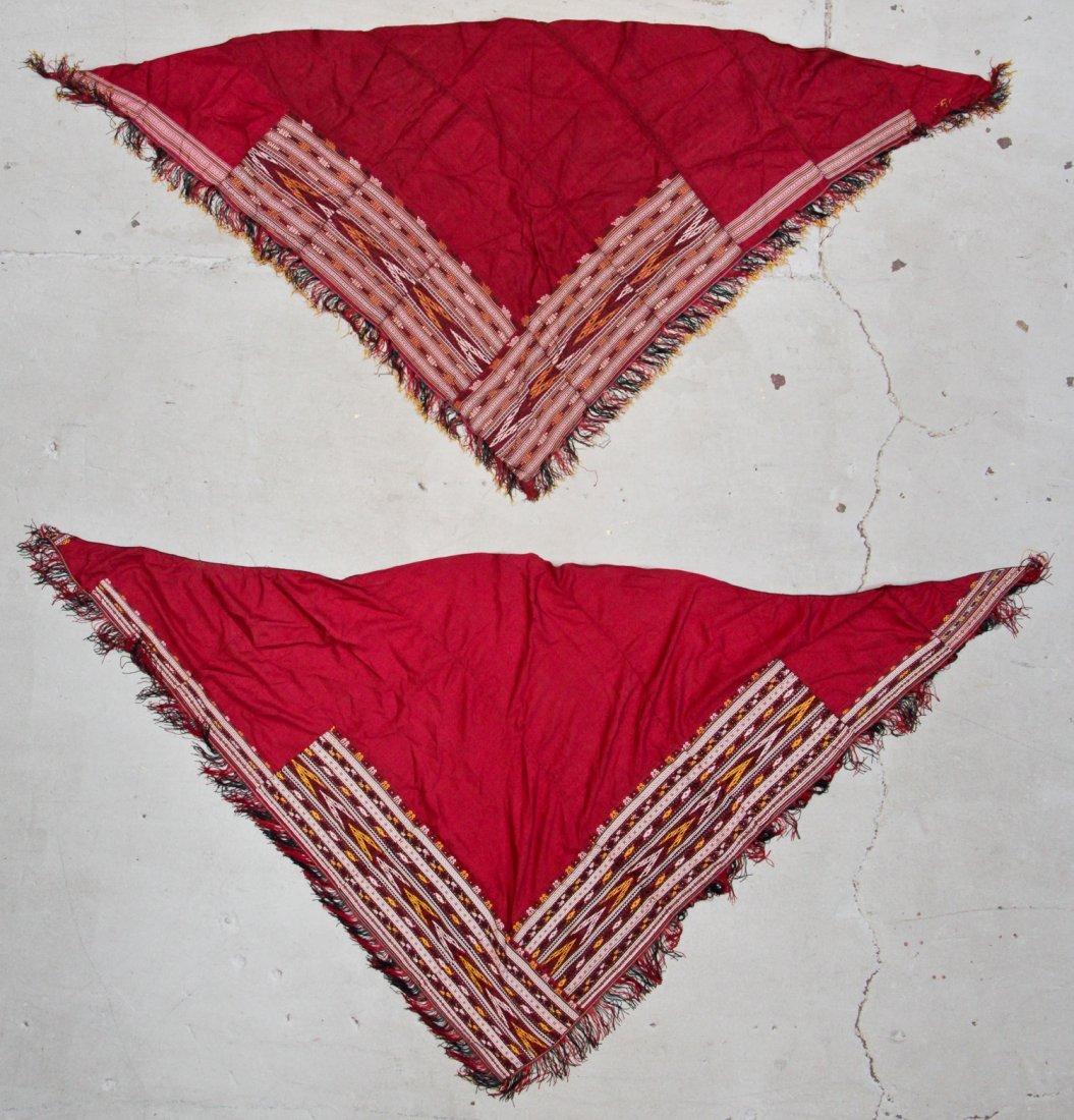 2 Old Silk Embroidered Turkmen Shawls