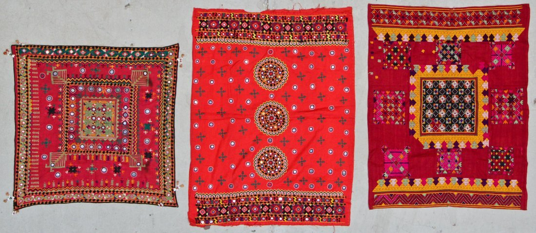 3 Old Embroidered Textiles, Meher People, Sind
