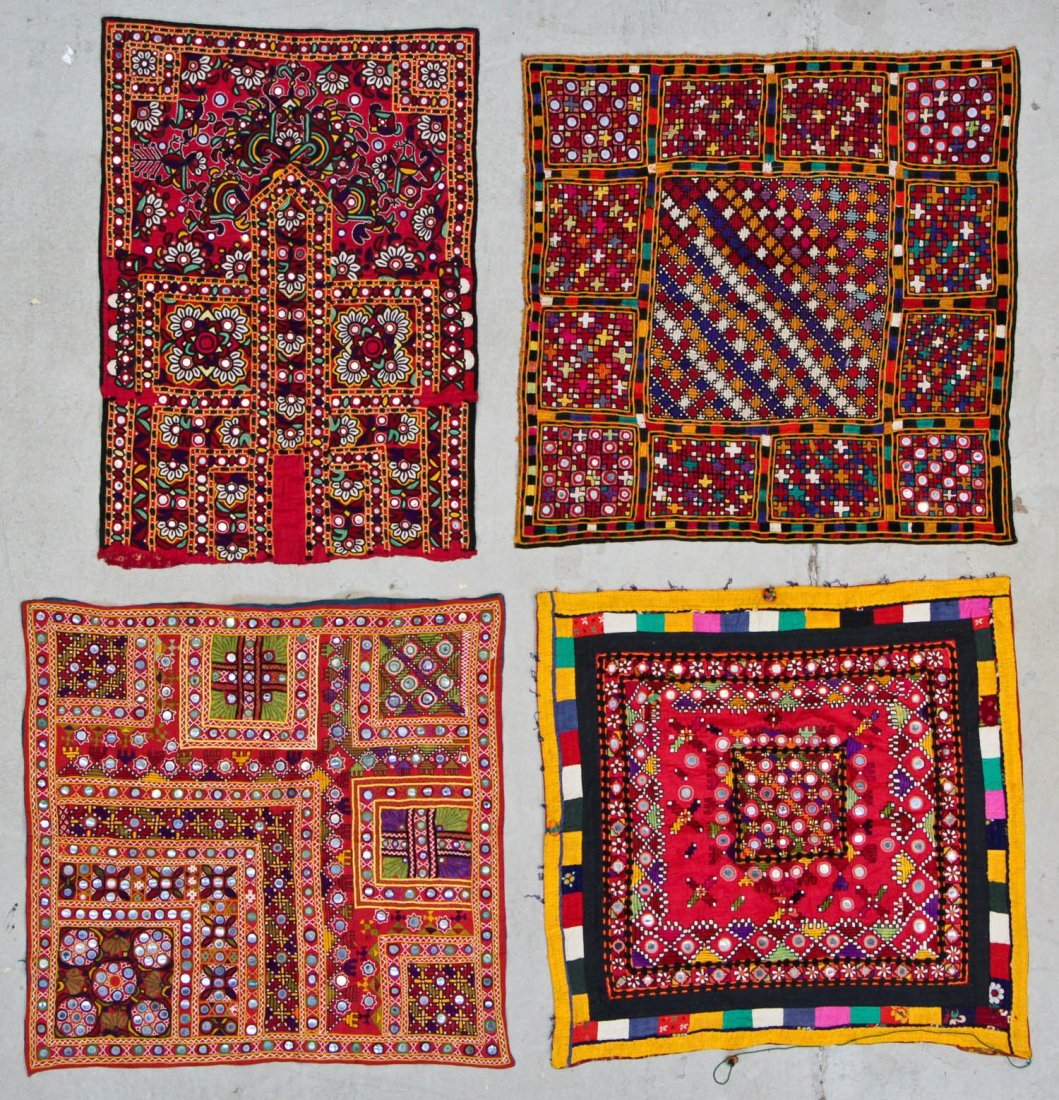4 Old Finely Embroidered Textiles With Mirror Work