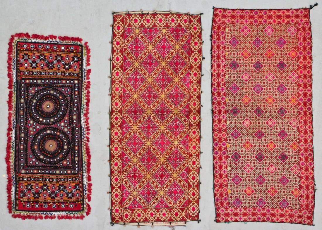 3 Old Finely Embroidered Textiles, India/Pakistan
