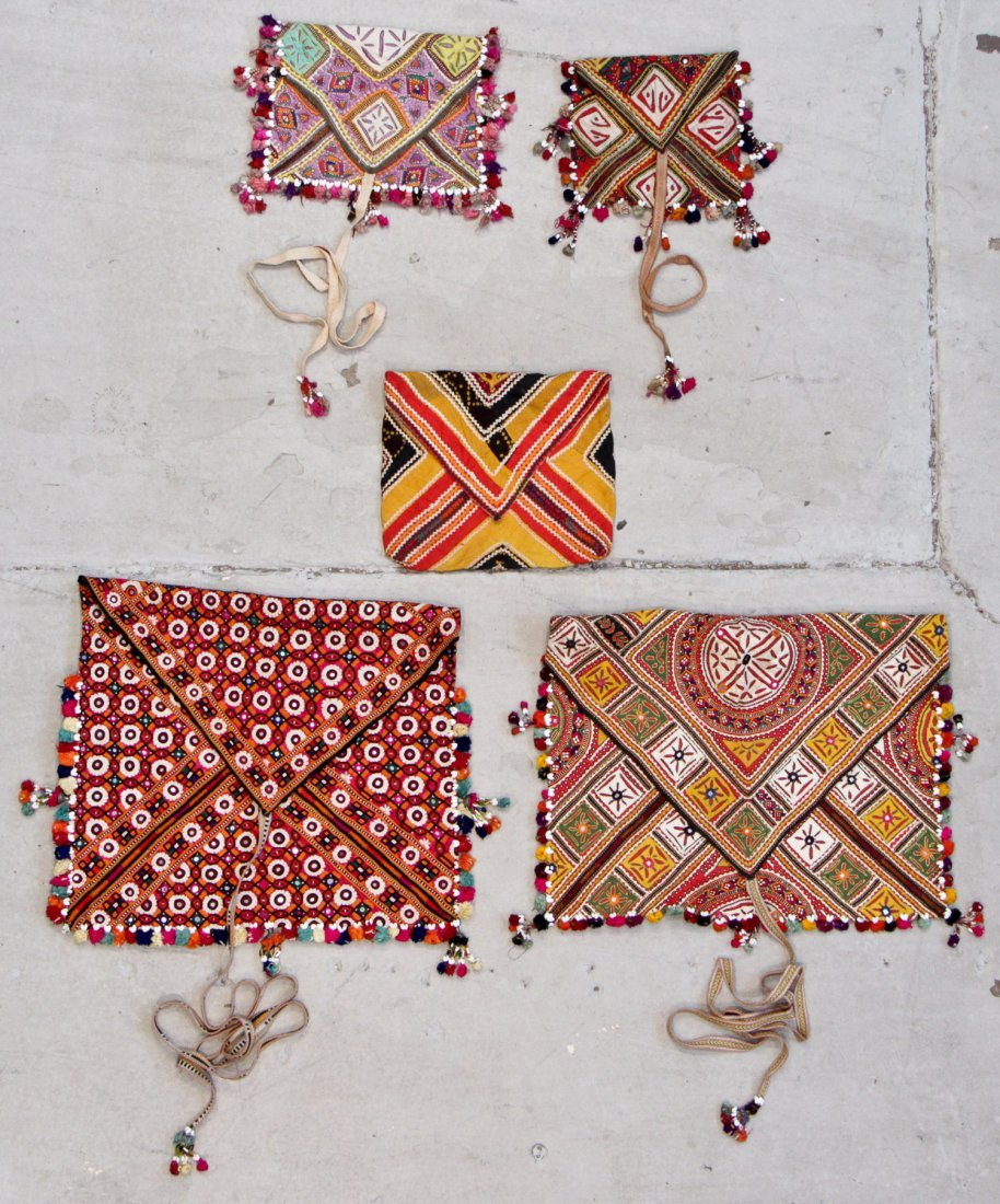 5 Old Embroidered Dowry Bags, India/Pakistan