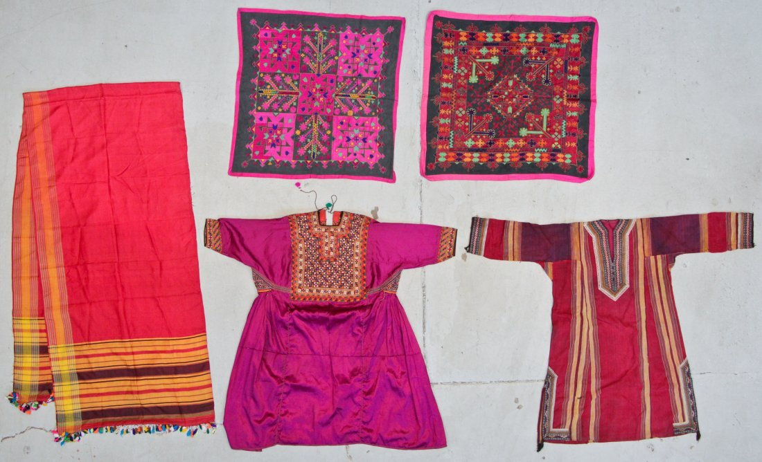 5 Old Textiles From India/Pakistan