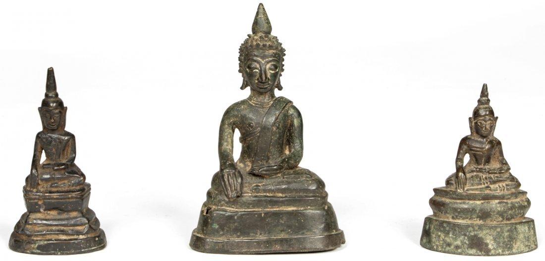 3 Sino Tibetan Buddha Figures, Circa  1750-1850