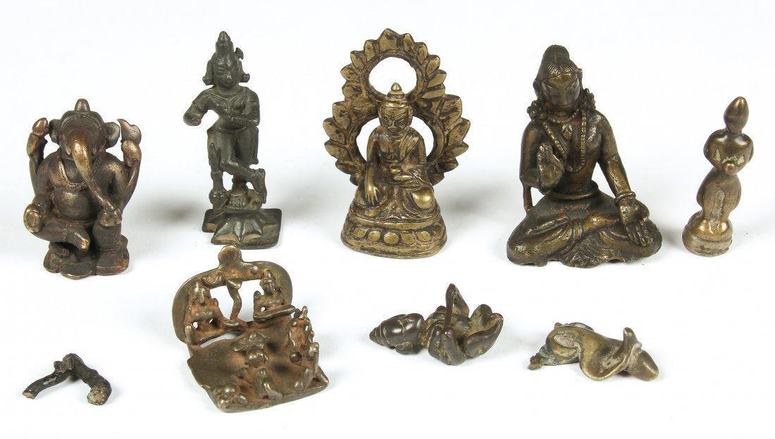 Seven Indian Statues/One Buddha, Circa 1750-1900
