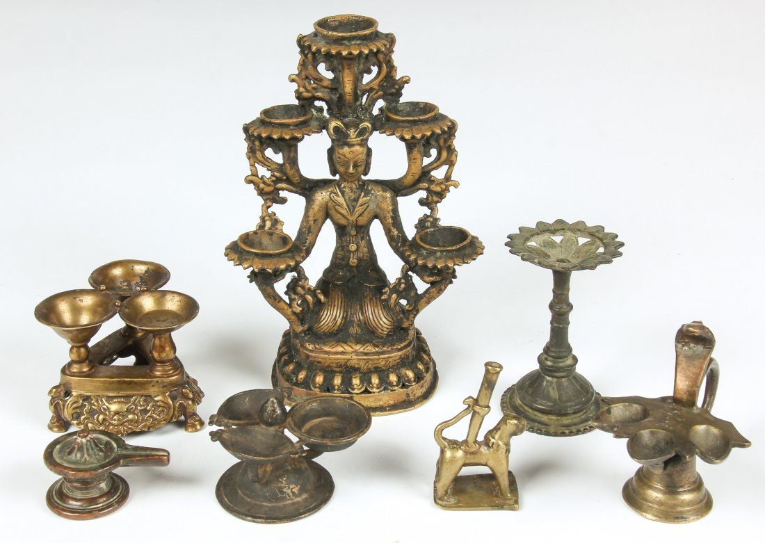 8 Antique Bronze Items, Ca 1800-1850