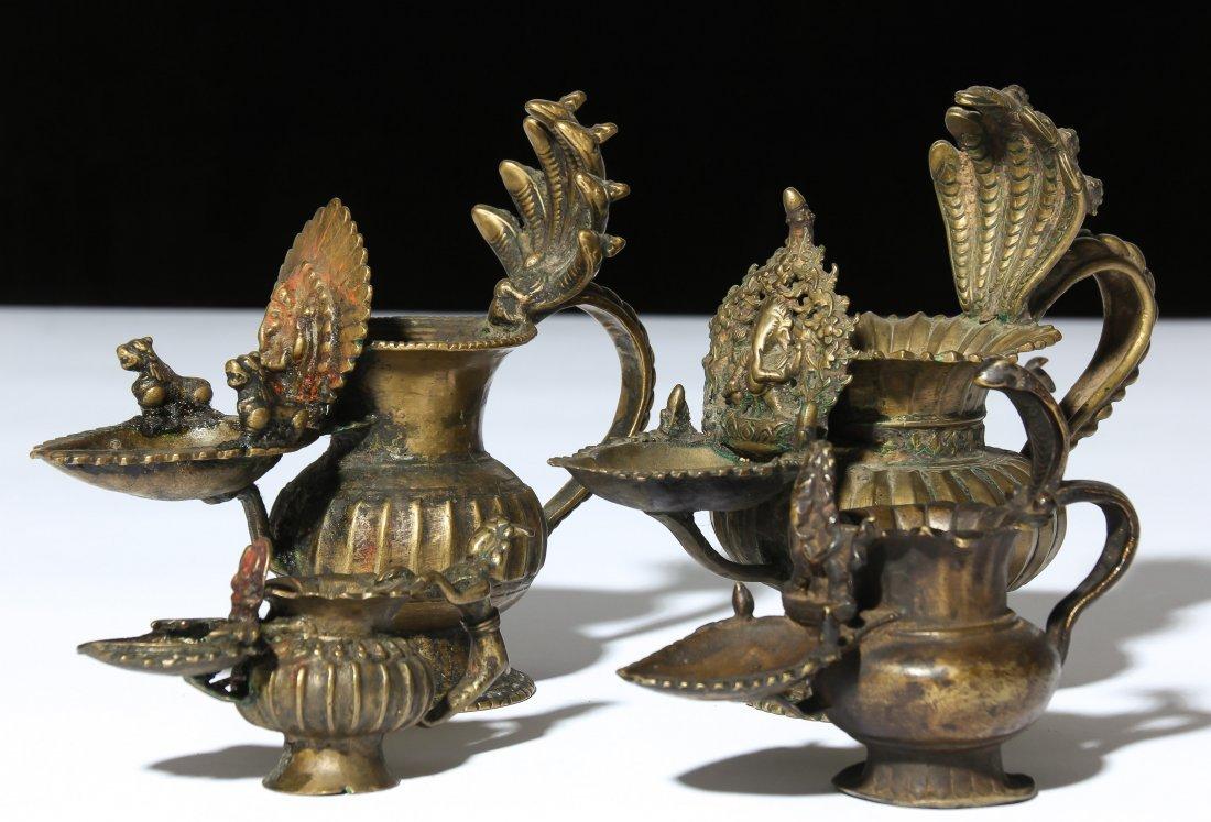 4 Rare Antique Sukunda Puja Lamps