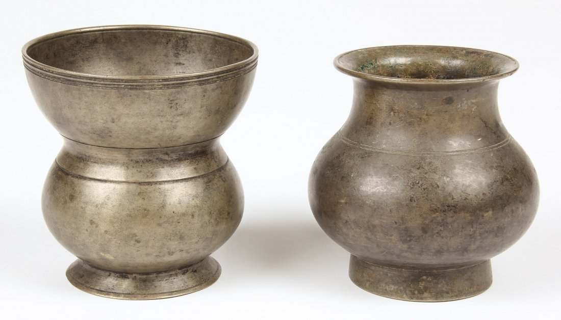 2 Bronze Vessels, Nepalese Early 19th c.