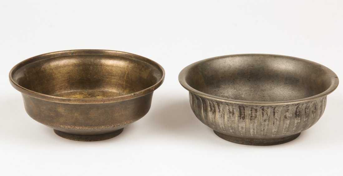 2 Antique Heavy Bronze Bowls, Nepal Ca. 1800