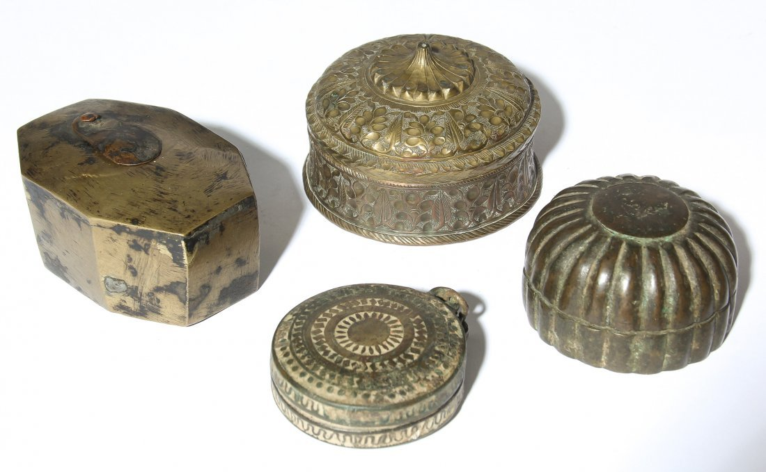 Four 19th C. Bronze Indian Containers