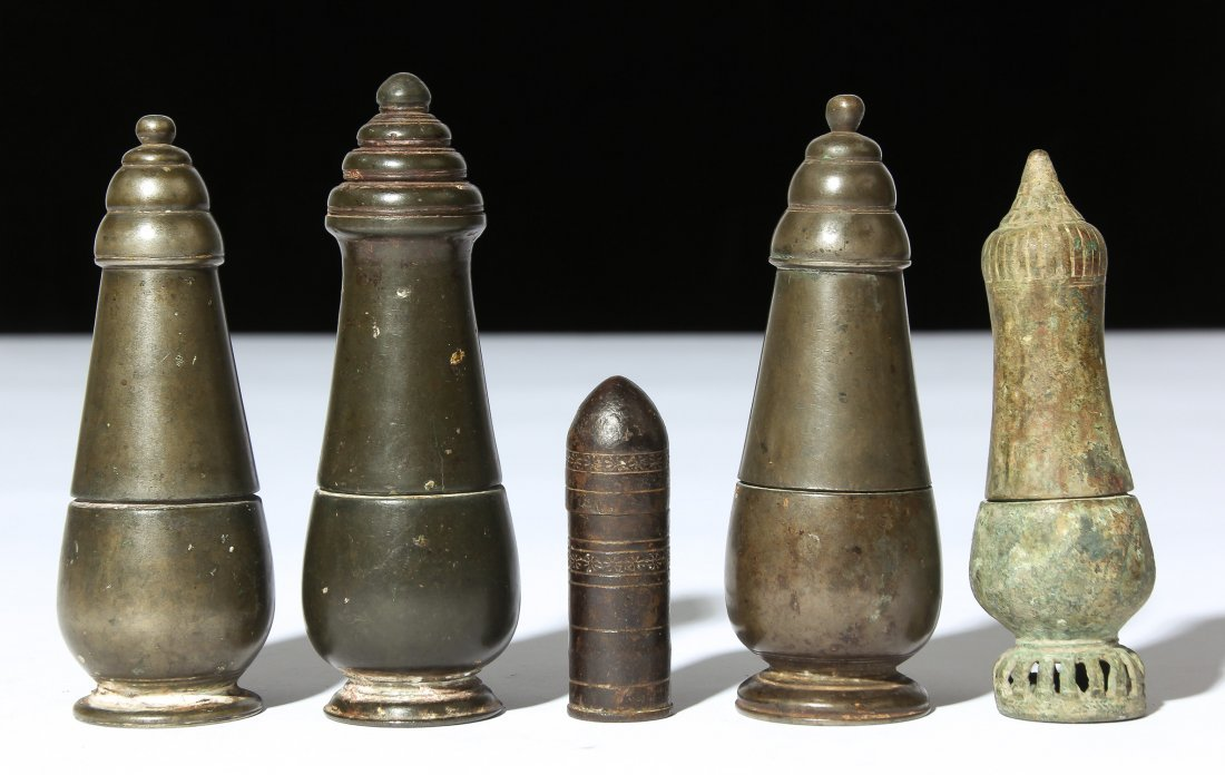 5 Cambodian Lime Containers, Ca. 1700-1850