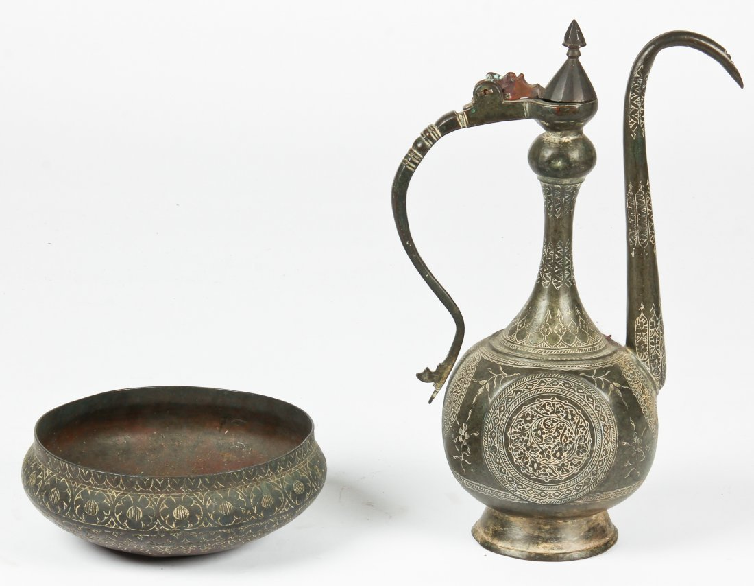 2 Antique North Indian/Central Asian Bronze Ewer/Bowl