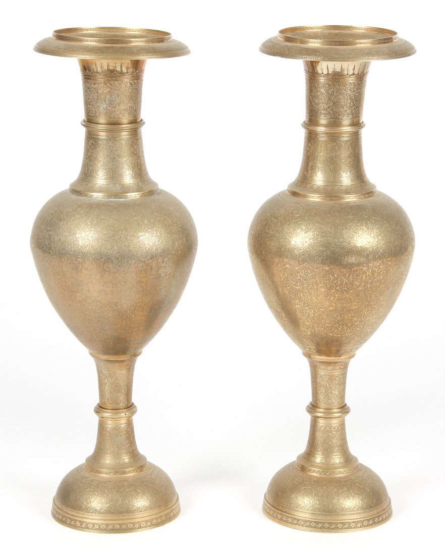 Pair of Old North Indian Brass Vases