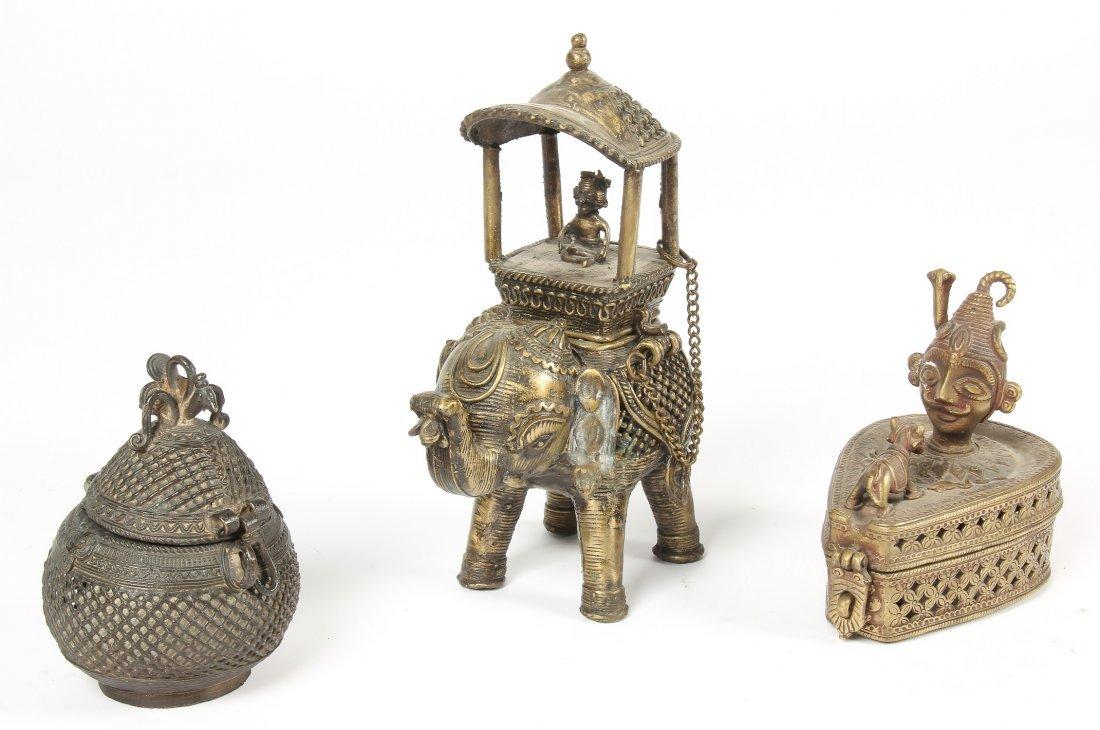 3 Vintage North Indian Bronze/Brass Figural Boxes