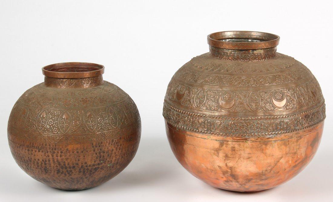 2 Large Old Central Asian Copper Repousse Bowls