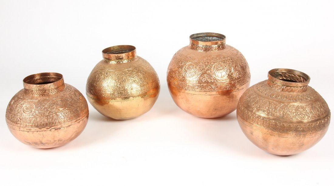4 Heavy Vintage Brass/Copper Central Asian Bowls