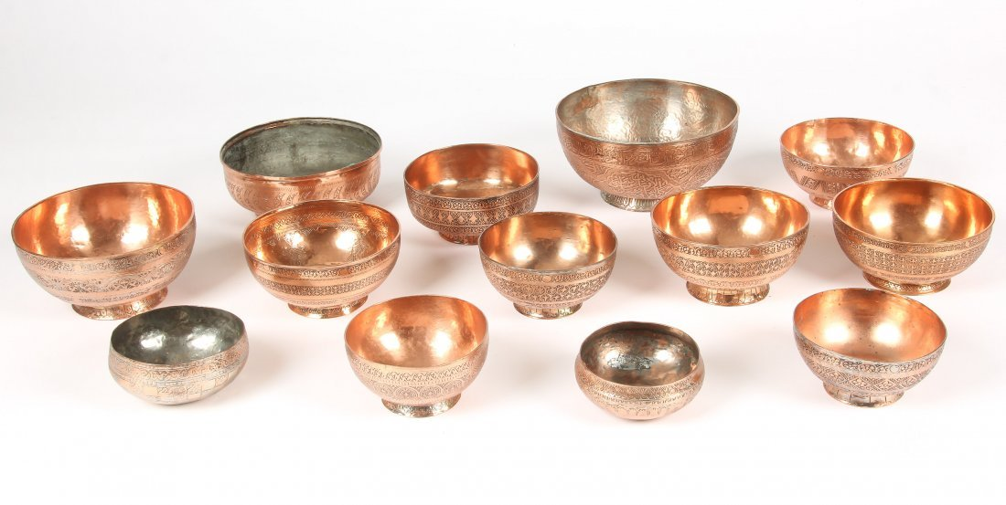 Collection of 13 Vintage Copper/Brass Bowls