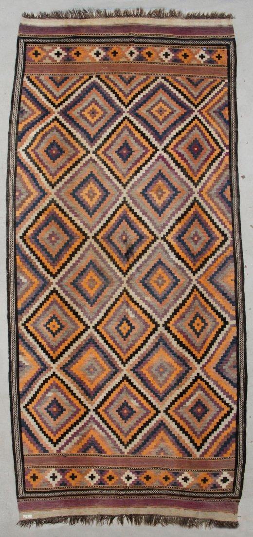 "Large Vintage Afghan Kilim: 7'3"" x 15'8"" (221 x 478 cm)"