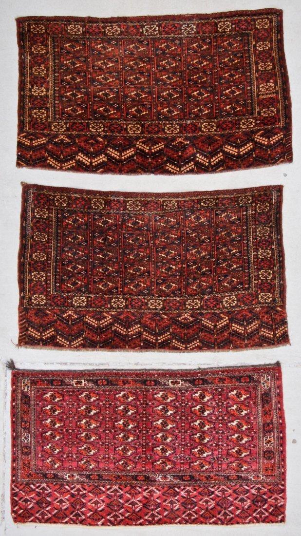 3 Antique Turkmen Chuval Rugs