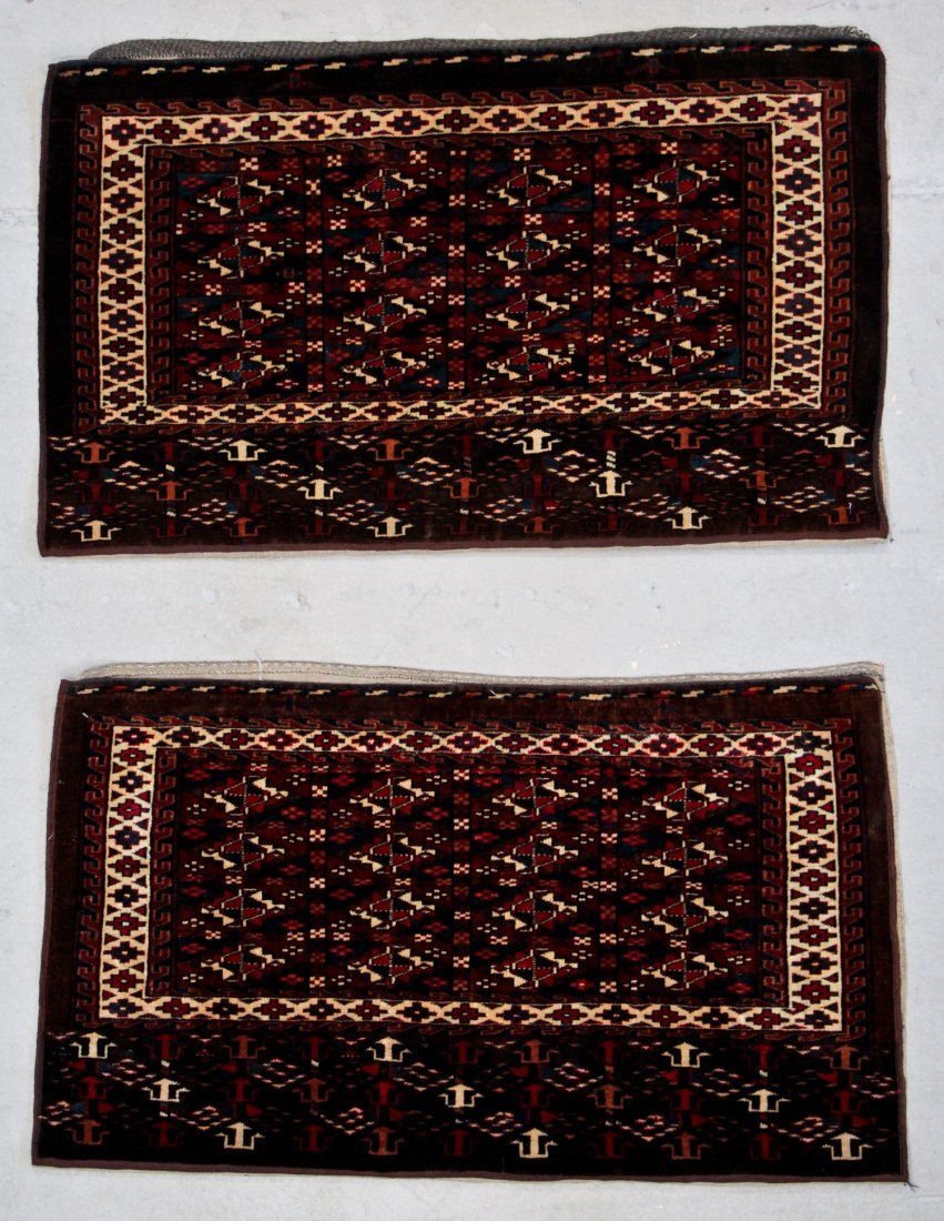 Pair Antique Yomud Chuval Rugs